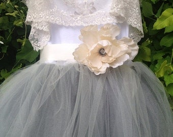 Gray Tulle Junior Bridesmaids Tutu Gown With Lace Collar / flower girl dress for tweens / dress for teens/ modest dress