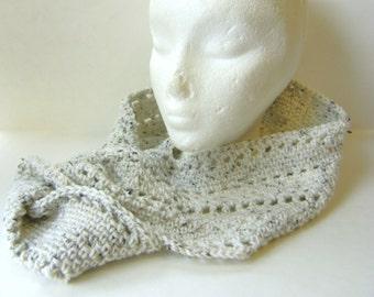 Crochet Infinity Scarf in Soft Oatmeal Tweed, Mobius Loop Scarf