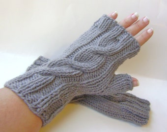 Fingerless Gloves Hand Knit Steel Gray Gloves Cable Knit