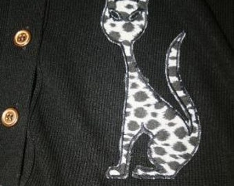 Vintage 1960s Cat Cardigan Sweater in Black with Brass Buttons