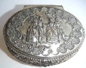 Vintage  Silver Plate Casket Box,Jewelry Box,Trinket Box,Dresser Box,Romance,Valentine's Day Gift,Engagement Ring,Ring Box,Keepsake