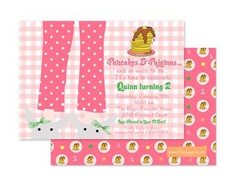 PANCAKES and PAJAMAS Invitation, Pink Gingham, Girls Birthday, PRINTABLE  by Libby Lane Press