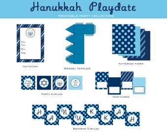 INSTANT DOWNLOAD Hanukkah Playdate Collection: Printable Party Package, As seen on Amy Atlas Events