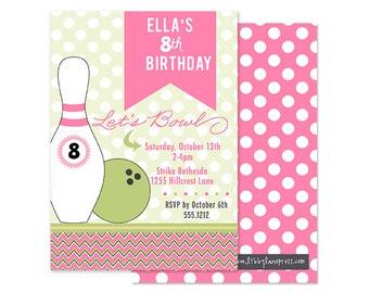 Bowling Birthday Party Invitation - Pink , Black, Green - Customized Digital or Professionally Printed Invitation