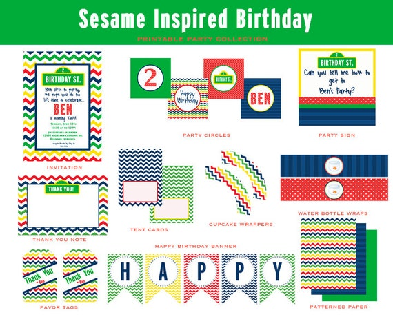 SESAME STREET Inspired Birthday Party, Printable Party Package (Sesame Street Invitation and Party Decorations)