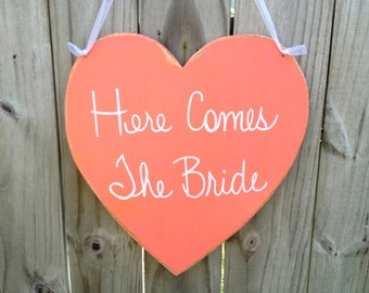 Distressed Coral and White Here Comes The Bride Heart Wedding Sign Coral Wedding Signage