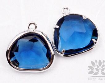 F119-02-S-BT// Silver Framed Blue Topez Glass Stone Pendant, 2Pcs