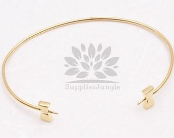 A324-01-G// Gold Plated Bow Bangle Bracelet, 1 pc