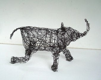 Unique Wire Animal Sculpture - RUNNING BABY - Elephant Sculpture