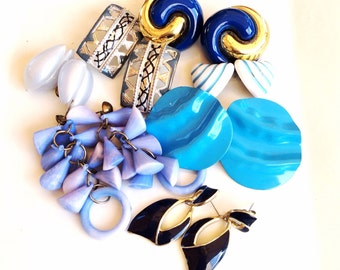 CLEARANCE destash blue vintage retro earrings mixed lot 7 pairs to wear or for crafts and assemblage lot 986