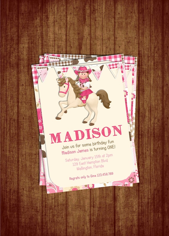 Cowgirl and Horse Birthday Party Invitation