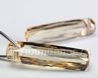 2 pcs SWAROVSKI Elements 6460 Column Tube Pendant Crystal 20mm Golden Shadow