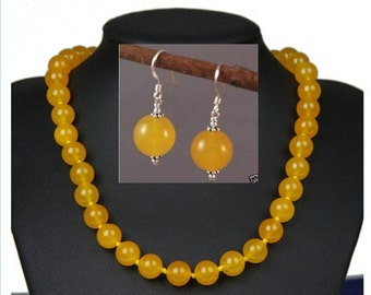 JADE NECKLACE- 18inch 12mm yellow  jade  necklace & earring set
