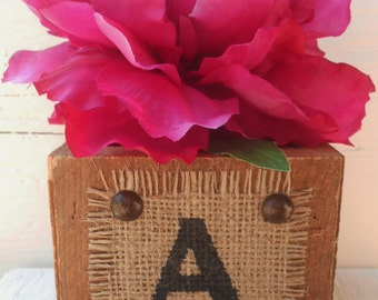Mr and Mrs last name monogram initial, RUSTIC, wood flower pot, wedding decor gift table pen holder