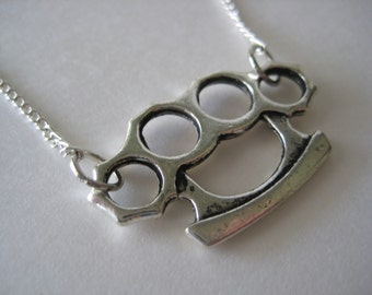 Silver Brass Knuckles Charm Necklace