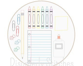School Supplies Hand Embroidery PDF Pattern Instant Download