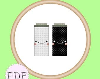 Kawaii Salt and Pepper Mini Cross Stitch Pattern PDF INSTANT DOWNLOAD