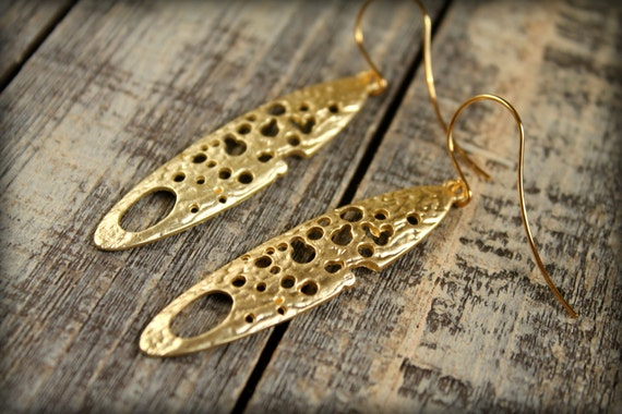Moonrock Dangle Earrings, Available in Matte Silver or Gold