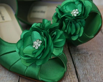 Wedding Shoes -- Green Peep Toe Wedding Shoes with Matching Trio of Flowers Adornment
