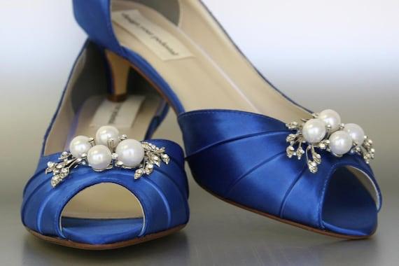 Royal Blue Wedding Heels: SAMPLE SALE Wedding Shoes Royal Blue Peep Toe Wedding Shoes