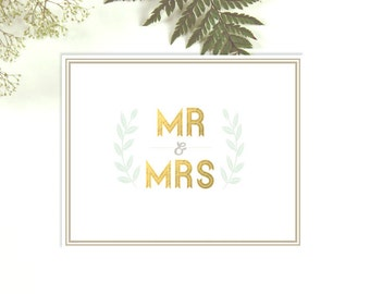Mr And Mrs- Mr and Mrs Wedding Sign- Mr and Mrs Wedding Gift- Gold Wedding Decor- Unique Wedding Gift- Mr and Mrs Print- Mint Gold Customize