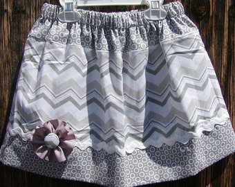 Girls skirt, Infant skirt, toddler skirt, Custom..Gray N Gray Chevron N Dots..sizes 0 to 10