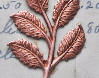 Large Brass Leaf Spray, Rose Ox