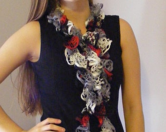 Crocheted Red Black Gray White Ruffled Scarf