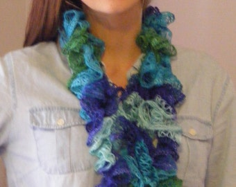 Rich Blues & Greens in this Crocheted Ruffle Scarf