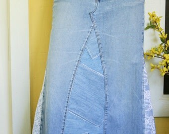 Long Jean Skirt - Lace Insets - Patchwork - Made To Order - Women's Fashion Long Jean Skirt