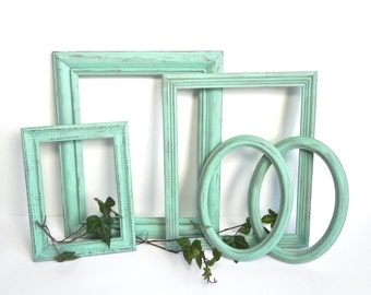 Mint Green/Seafoam Green Shabby Chic Frame Collection, Set of Mint Green Frames, Upcycled Frames