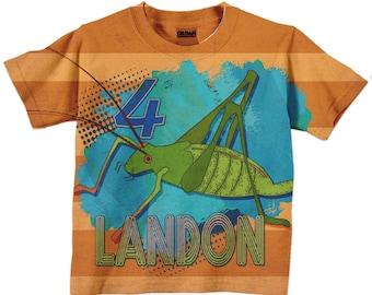Personalized Grasshopper Shirt, Boys Bug Birthday T-Shirt, Top