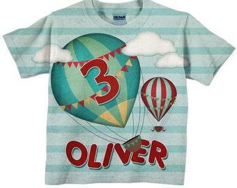 Boys Hot Air Balloon Shirt, Personalized Air Balloon Birthday T-Shirt, Boys Shirt, Boys Top