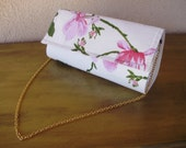 White Clutch with Pink Flowers--Placemat Bag