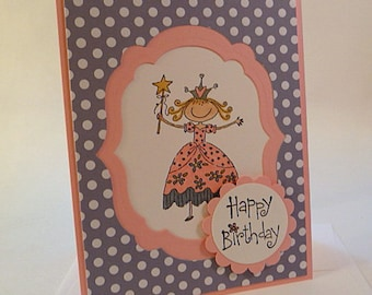 Princess Birthday Card, girl, child, pink, mauve, purple, hand stamped, water colored (C1154)