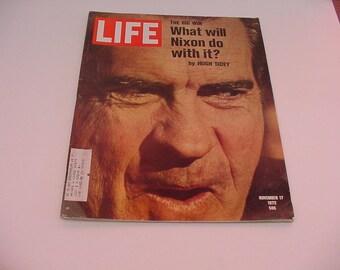 "NIXON Nov 17 1972  Life Magazine ""The Big Win"" Vintage Product Advertising"