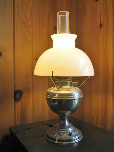 Rayo Nickle Plated Kerosene Oil Lamp B Amp H Bradley And Hubbard