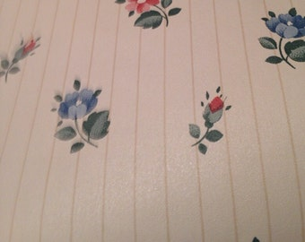 Vintage Shelf Liner Wall Paper 1 Yard  Vintage Cream Background with Pink flowers Shelf Lining