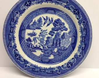 Vintage Buffalo China Salad Plate 6 inch blue and white