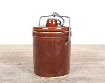 Ceramics and Pottery / Small Pottery Bowl / Pot with Lid / Cheese Crock with Lid / Ceramic Bowl / Country Kitchen Decor / Brown Bean Pot