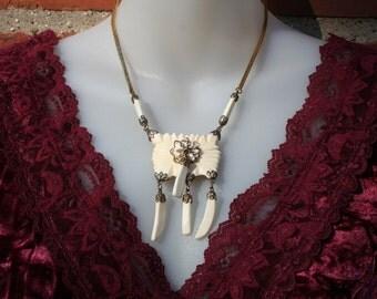 Necklace Carved Bone Gold 1980s