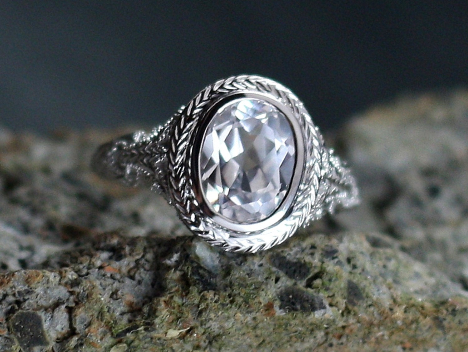 Vintage White Sapphire Engagement Ring Oval Antique Bezel Set