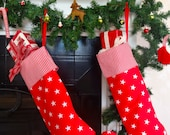 Red Jingle Bell Elf Christmas Stocking