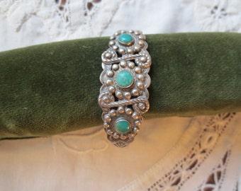1940s HARVEY Era Sterling & Turquoise NAVAJO Cuff BRACELET