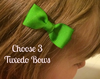 Baby Hair Bows - NEW Small Hairbows - Tuxedo Bow - Choose from 80 colors - You Pick 3 Bows - No Slip Grip- Baby, Toddler. Girls