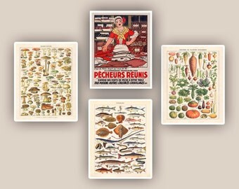 Kitchen art, kitchen decor, vegetables, mushrooms,fishes educational poster, fishes, seaweeds, fishwife, kitchen decor, fishmonger, 11x14