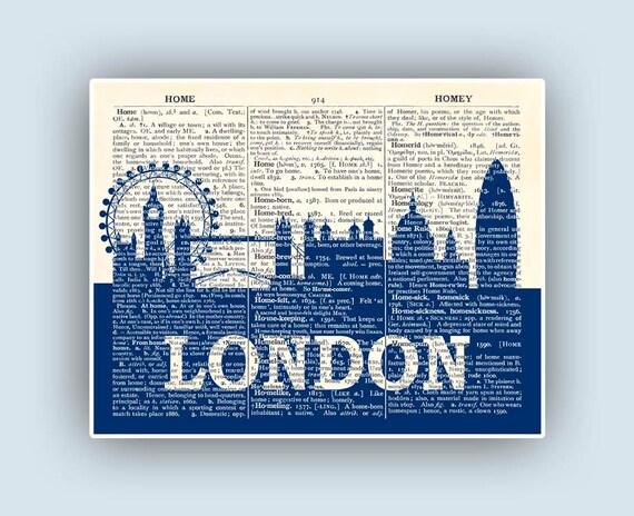 ... Personalized City skyline, skyline art, Wedding gift, London