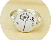 Dandelion Wish Ring- Hand Stamped Sterling Silver Filled Ring- Any Size- Size 4, 5, 6, 7, 8, 9, 10, 11, 12, 13, 14