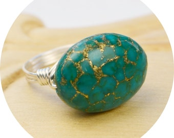 Sale! Turquoise and Gold Colored Ring - Sterling Silver Filled Wire Wrapped Ring with Oval Gemstone -Any Size 4,5,6,7,8,9,10, 11, 12, 13, 14