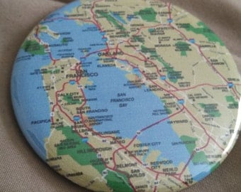 """Bay Area Map Pinback Button 2.25"""""""
